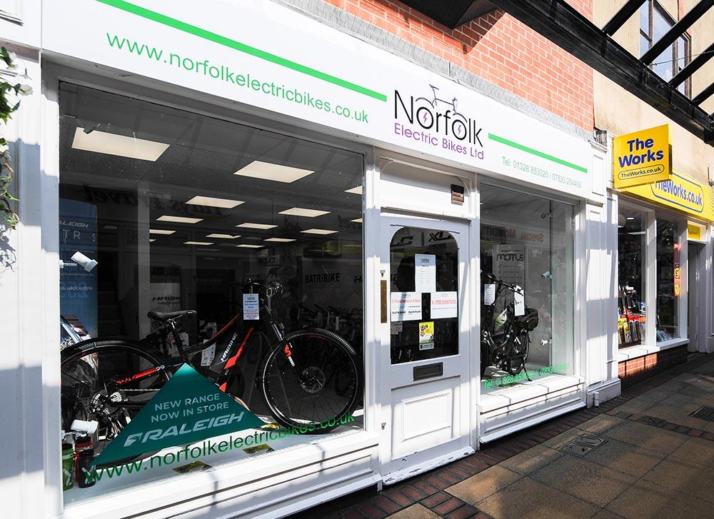 Shopfront of Norfolk Electric Bikes